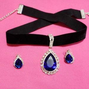 Royal blue velvet choker/ necklace
